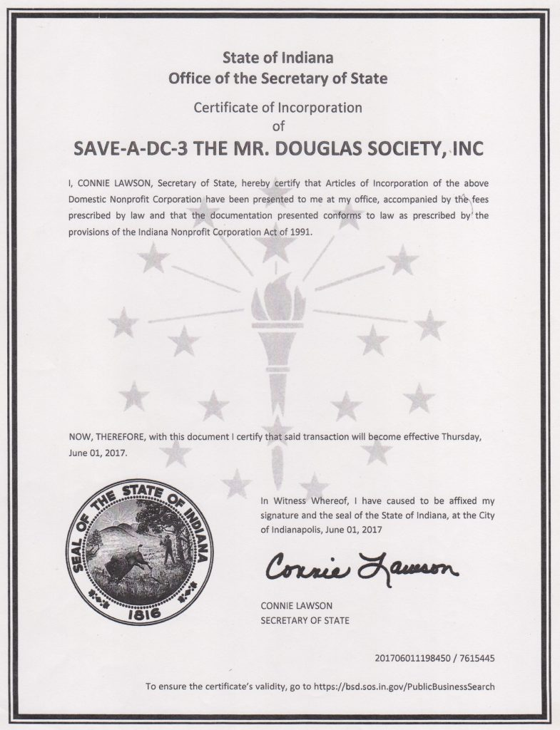 Indiana Certificate of Incorporation